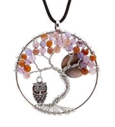 Wholesale Lapis Heart Pendant - Natural Stone Round Tree of Life Owl Pendants Charms Accessories Opal Lapis Lazuli Crystal etc Stone Amulet Fashion Jewelry