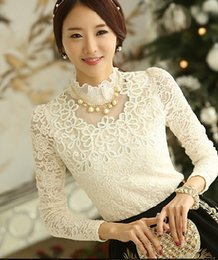 Wholesale White High Collar Blouse - Wholesale-Free Shipping High Quality Korean Hot Sale Stand Collar Long Sleeve Gauze Lace Blouse White With Necklace