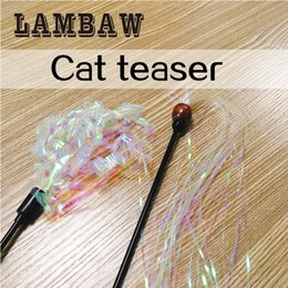Wholesale Paper Mice - cat teaser lambaw pet supplier with flexibale plastic pole stick and curly reflective ringing paper interactive full funny for kitten