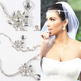Wholesale Formal Wedding Hair - Free Shipping Kim Kardashia Real Images Rhinestone New White Strapless Formal Prom Wedding Dress Ball Gown 3pcs lot HaI jewelry