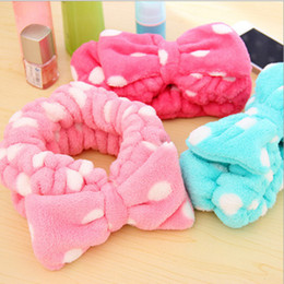 Wholesale Band Ornaments - Bath Shower Headband Lovely Bowknot Headscarf Flannel Elastic Headbands Make Up Hair Band Towel Women Hair Ornament 12 Designs YFA208