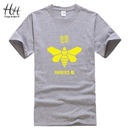 Wholesale Cooking Clothing - HanHent Breaking bad Yellow Bee Printing T-Shirt Men Heisenberg Cook Tee shirt Cotton Loose T shirts Swag Clothes Hiphop