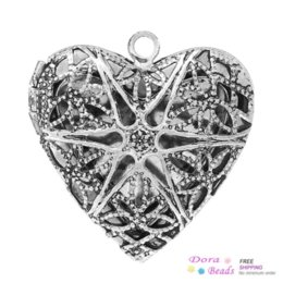 Wholesale Heart Locket Photo Frame Necklace - Frame Pendants Picture  Photo Locket Heart Antique Silver(Fits 19mm x 14mm) Pattern Carved 26mm x 26mm,10PCs (B37078)8seasons