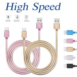 Wholesale Housing For Lg - Cell Phone Cables For Samsung HTC LG 1M 2M 3M Metal Housing Braided Micro USB Cable High Speed Data Sync USB Charger