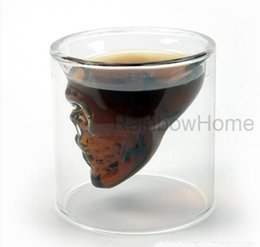 Wholesale Glasses For Drinks - Doomed Crystal Skull Head Vodka Shot Glass Cup Beer Wine Whisky Drinking Cups for Home Bar Party Creative Double Wall Glasses 75ML Q2