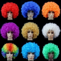 Wholesale Masquerade Fans - Wholesale-Afro style Clown Wig Party Wigs Masquerade Halloween Christmas Explosion Head Colorful Ball fans Wigs
