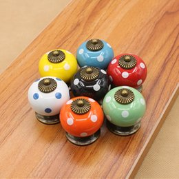 Wholesale Net Hardware - 6PCS lot 38mm Furniture Hardware Tools Ceramic spherical 7 color spot O Shape Pull Cupboard Cabinet Drawer Door Handle Knob net weigth 46g