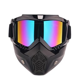 Wholesale Vintage Plastic Mask - Wholesale- 2017 New Modular Moto Helmet Mask Scooter Gafas Detachable Goggles &Mouth Filter For Open Face Motorcycle Half Vintage Helmets