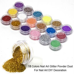 Wholesale Gel Nail Glitter Powder - Fashion 18 Colors Mix UV Gel Nail Art Glitter Dust Powder For UV GEL Acrylic Powder Nail Art Decoration Tips DIY Free Shipping