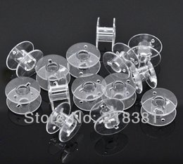 Wholesale Wholesale Bobbin - 100pcs Clear Plastic Bobbins Spools for Wire Thread String Sewing Accessories 20*11mm A00618S