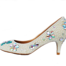 Canada Artisanat Chaton Talon Chaussures De Mariage Ivoire Perle Banquet Prom Party Chaussures Strass Mariée Chaussures À Bout Rond Formelle Robe Talons supplier ivory kitten heel wedding shoes Offre