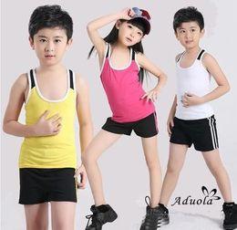 Wholesale Kids Aerobics - 2015 new Cotton Aerobics Sleevelss Sport Slim Calisthenics Elastic Children Clothing Tshirt Pants Kids Tank Top Vest Shorts Outfits Fitness