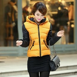 Wholesale Coats For Women Korea - Wholesale-2015 New Korea Down Jacket For Women Fashion Dot Printed Hooded Coat Thicken Parka Zip Up Coats Plus Size 4 Colors CO-074