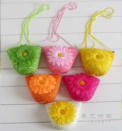 Wholesale Crochet Handbags Wholesale - Fashion Cute Wheat Straw Mini Bags With Zipper Crochet Knitting Nature Plant Beach Bags Candy Colors Handbags Women Children Gift F078