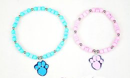 Wholesale Pearl Dog Collar - Blue Candy Pearl Dog Cat Collar Necklace With Cute Dog Paw Cheap Nice Pet Collar Top Quality 2 Size Min Order 10PCS