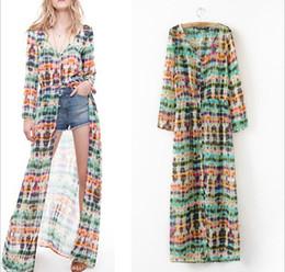 Wholesale Cardigans Maxi Long Length - Women Dresses Summer 2015 Retro Tie-dye Printing New Hawaii Long-sleeved Chiffon Maxi Beach Dress Cardigan Mop Womens Casual Dresses