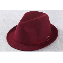 Wholesale Blower Hat - Wholesale-New unisex fedora hat colorful Jazz hat brim hat winter classic blower felt floppy women's hat wing lace fedoras for women