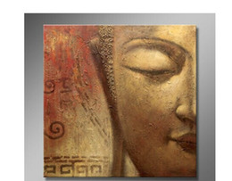 Wholesale Buddha Wall Panel - Hand Painted Famous Buddha Oil Painting on Canvas Religion Art for Home or Business Wall Decoration 1pc