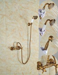 Wholesale Cross Fix - Wholesale And Retail Promotion Antique Brass Bathroom Rain Shower Faucet Dual Cross Handles Hand Held Shower Sprayer