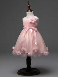 Wholesale pale pink girls dresses - Latest design flower girls wedding dress 3D rose baby girl tutu skirts kids girl's party yarn tulle organza dresses children ball gown