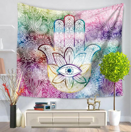 Wholesale Plain Hand Towels - ethnic eye in hand wall hanging decoration boho indian style fabric tapestry polyester beach towel carpet