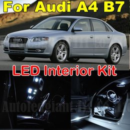 Wholesale Canbus Led Audi A4 - 18pcs White Canbus Error Free Interior Lighting Package for Audi A4 S4 RS4 B7 LED Interior Light kit 2005 2006 2007 2008 2009