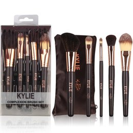 Wholesale Goat Hair Dhl - HOT new Kylie Makeup Complexion Brush Set 5 pieces Makeup Tools DHL Free shipping+GIFT