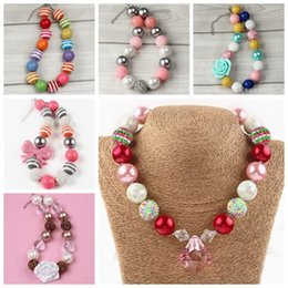 Wholesale Girls Pearls Chunky Necklace - childrens jewelry pendants chunky necklace for kids girls christmas gifts bubblegum beads jewellery toddler pearl acrylic chain necklace ins