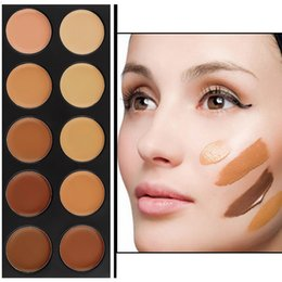 Маскирующий маскирующий макияж онлайн-Wholesale- 1Set 10 Color  Concealer Palette Camouflage Matte Facial primer  Cosmetic foundation base make up Worldwide