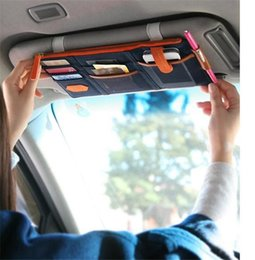 Wholesale Sunvisor Organizer - Car Organizer 3 colors multi-purpose Sunvisor point pocket auto car hanging storage bag canvas for credit card cell phones business card
