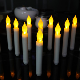 Wholesale Wholesale Led Candles Timers - Set Of 12 Battery Operated Taper Candles With Timer (6 Hours On ,18 Hours Off ),Yellow Flickering Flameless Led Candles With Timer