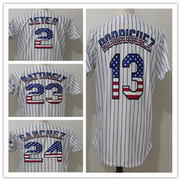 Wholesale 13 Flag - Stitched Jersey Embroidery Logos 2 Derek Jeter 13 Alex Rodriguez 23 Don Mattingly 24 Gary Sanchez Cool Base Player Jersey usa flag