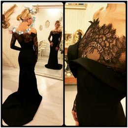 Wholesale Womens Evening Formal Prom - 2016 Long Sleeve Mermaid Evening Dresses Off Shoulder Black Lace Bodice Long Train Satin Prom Evening Gowns For Womens Formal Party Dresses