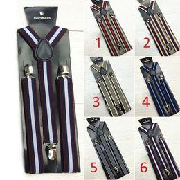 Wholesale Mens Clip Y Suspenders - 20 pieces New Mens Womens Clip-on Suspenders Elastic Y-Shape Adjustable Braces Stripe Suspenders
