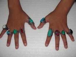 2019 anillos tibetanos de la joyería de la turquesa 2015 venta caliente de la vendimia anillos de piedras preciosas elegantes anillos tibetanos joyería de moda anillos de piedras preciosas de la vendimia turquesa anillos mezclar 30 estilos 30 unids / lote anillos tibetanos de la joyería de la turquesa baratos