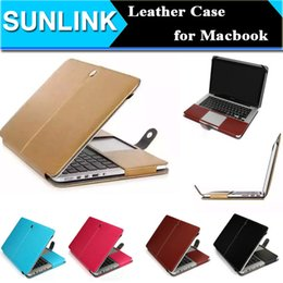 Wholesale Retina Laptop - Business Style Leather Folio Smart Holster Protective Laptop Sleeve Bag Case Cover for MacBook Air Pro Retina 11.6 12 13.3 15.4 Inch