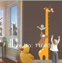 Wholesale Decorative Sticker Giraffe - Free shipping wholesale decorative Giraffe &bear butterfly height chart measurement wall stickers decal for kids room sticker
