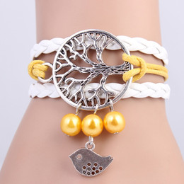 Wholesale Braclet Charms Wholesale - 2015 New handmade High Quality Tree of Hope & Bird Pearl Charms infinity Bracelet white &yellow woven leather Braclet. IB706
