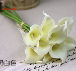 Wholesale Latex Calla Lilies Wholesale - Popular 38cm PU artificial Ivory Calla Lily Bridal Wedding Bouquets Latex Real Touch Calla Lily Flower Home Wedding centerpieces Decoration