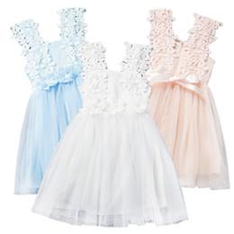 Wholesale Summer Cotton Lace Dresses Gauze - Prettybaby girls lace flower sundress baby kids girl clothes sleeveless gauze beading dress summer princess dresses 6 colors Pt0223#