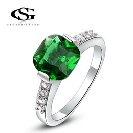 Wholesale Platinum Women S Wedding Band - 015 G&S Summer Gift Platinum Plating Green Ring Fashion Jewelry Best Gift for Girlfriend For Women Party Wedding