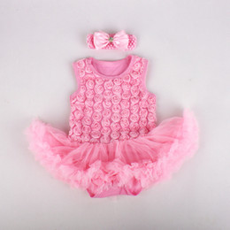 Wholesale winter baby showers - Baby girl romper dress 3D rose style with headband one piece baby jumpsuit tutu dress baby girl shower dress