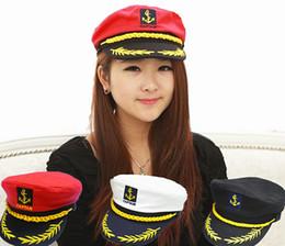 Wholesale sailor white uniform - Wholesale-Brand New 2015 Vintage Brand New Korean Style Men Flat  Caps Uniform Captain Skipper Sailor Caps Hats Black White Red