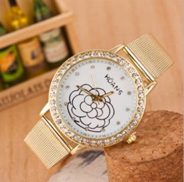 Wholesale Gold Flowered Watch - car New gold rhinestone belt watch rose flower printed watch fashion quartz watch women wristwatch Luxury watched