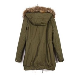 Wholesale Lined Army Green Jacket Women - Wholesale-2015 winter coat for women winter jacket real Fur Collar Thick Padded Lining Down Parka army green women clothing