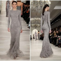 Wholesale Evening Fully Beaded - 2015 Elie Saab Gray Evening Dresses Jewel Neck Long Sleeves Beaded Lace Appliques Fully Lined Mermaid Prom Gowns Formal Arabic Women Wear