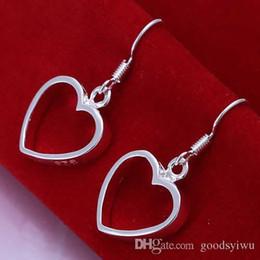 Wholesale Empty Heart Pendant - 925 Sterling silver earrings empty heart pendant dangle earrings fashion jewelry Flat Hollow Heart Earrings E047