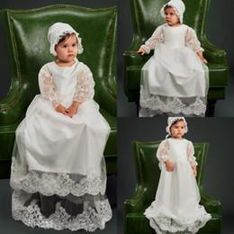 Canada Robes De Baptême Longues Dentelle Bas avec Manches Bonnet Arc Haute Qualité Baptême Robe Bébé Enfants Première Communication Offre