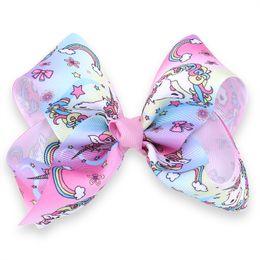 Wholesale beautiful unicorn - 10 Pcs 18CM Gradient Colorful Unicorn Ribbon Hair Clip Jojo Hair Bow With Clip Barrettes Hairgrips Beautiful HuiLin AW92