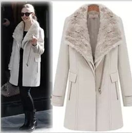 Wholesale Knit Vest Fur Collar - Wholesale-East Knitting celebrity style S-031 2015 Winter Women Beige Detachable Fur Collar Vest Wide Lapel Zipper Coat Free Shipping